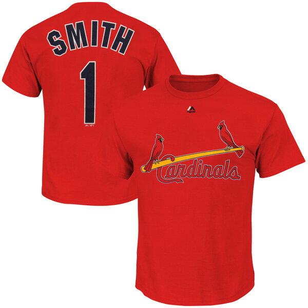 お取り寄せ MLB カージナルス オジー・スミス クーパーズタウン ネーム&ナンバーTシャツ マジェスティック/Majestic レッド