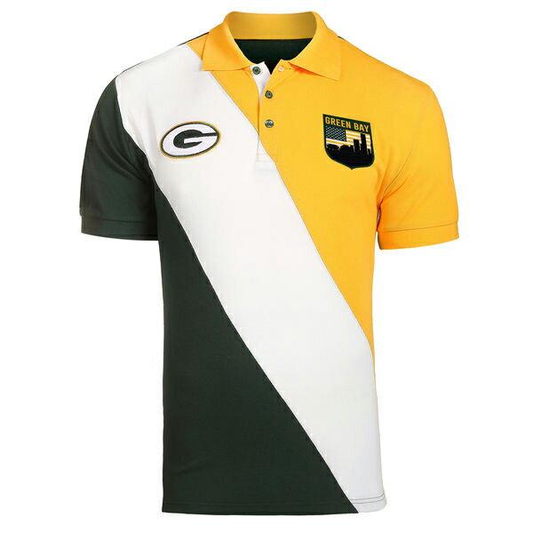NFL パッカーズ ダイアゴナル ストライプ ラガー ポロシャツ フォーエバーコレクタブルズ/Forever Collectibles グリーン