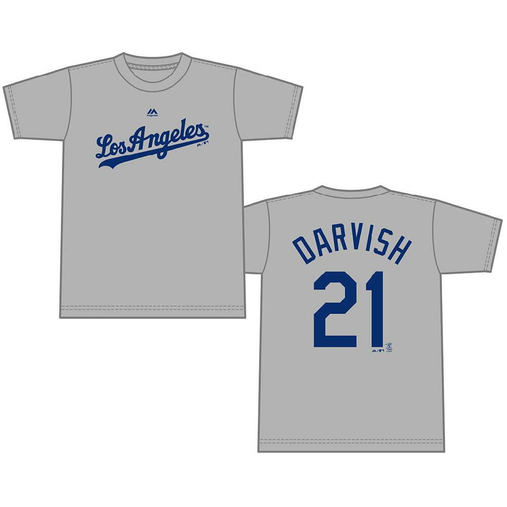 MLB ドジャース ダルビッシュ有 プレイヤー Tシャツ (日本サイズ) マジェスティック/Majestic グレー