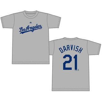 預訂MLB洛杉磯道奇達比修有播放器T恤(日本尺寸)Majestic/Majestic灰色