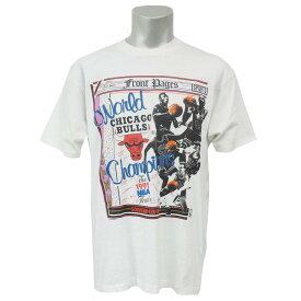 NBA Tシャツ ブルズ 1991 ワールドチャンピオン フロントページズ SCREEN STARS ホワイト レアアイテム【1910価格変更】【1911NBAt】