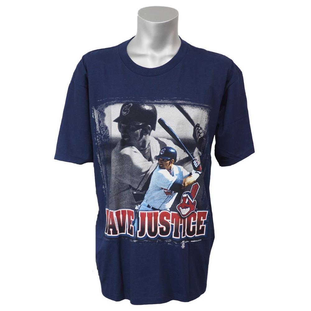 MLB インディアンス デビッド・ジャスティス プレイヤー フォト Tシャツ スターター/Starter ネイビー レアアイテム