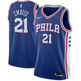 訂購的NBA Nike/耐吉76ers喬爾·embidosuuingumanyunifomu/制服藍色