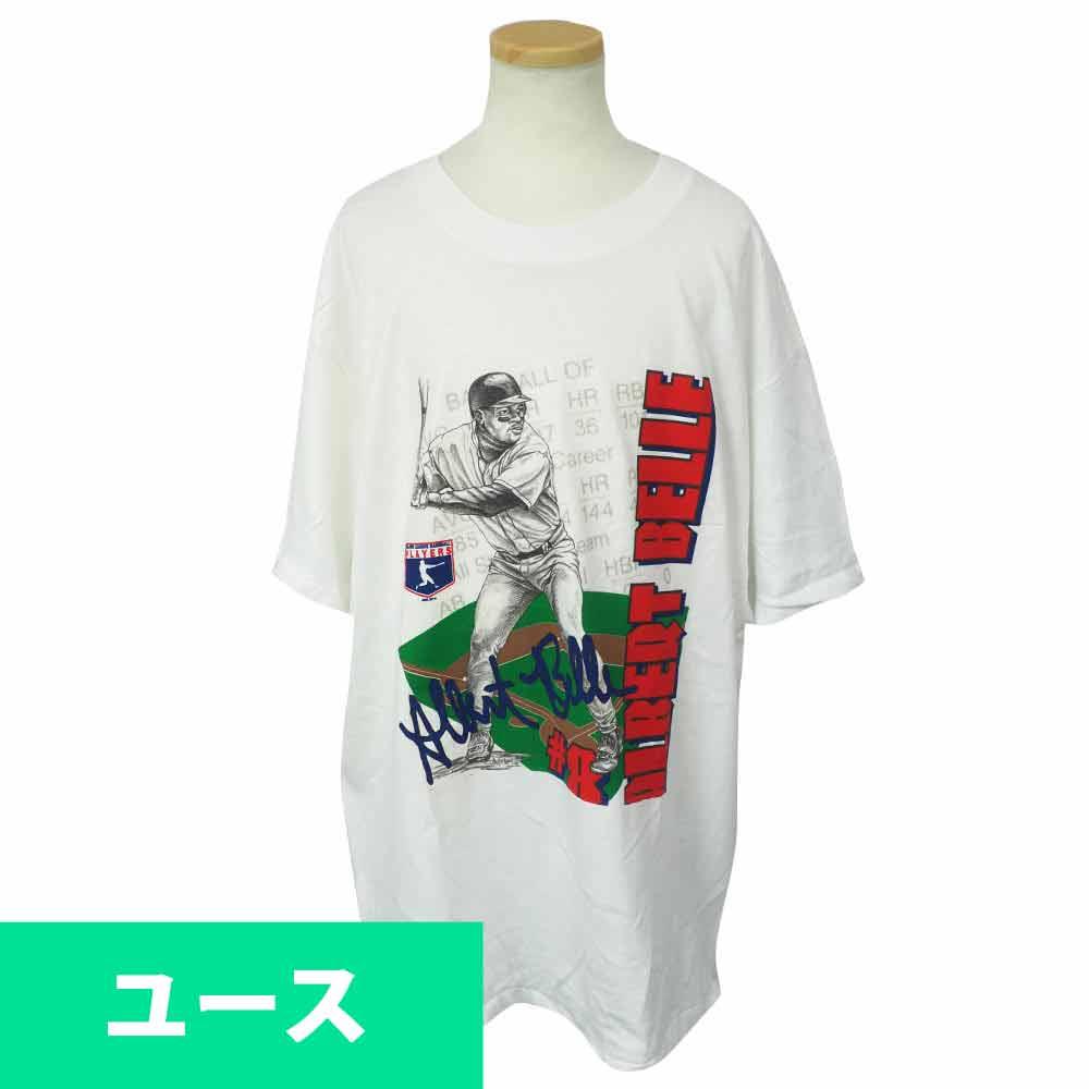 MLB インディアンス アルバート・ベル 1995 ユース Tシャツ Hanes ホワイト レアアイテム