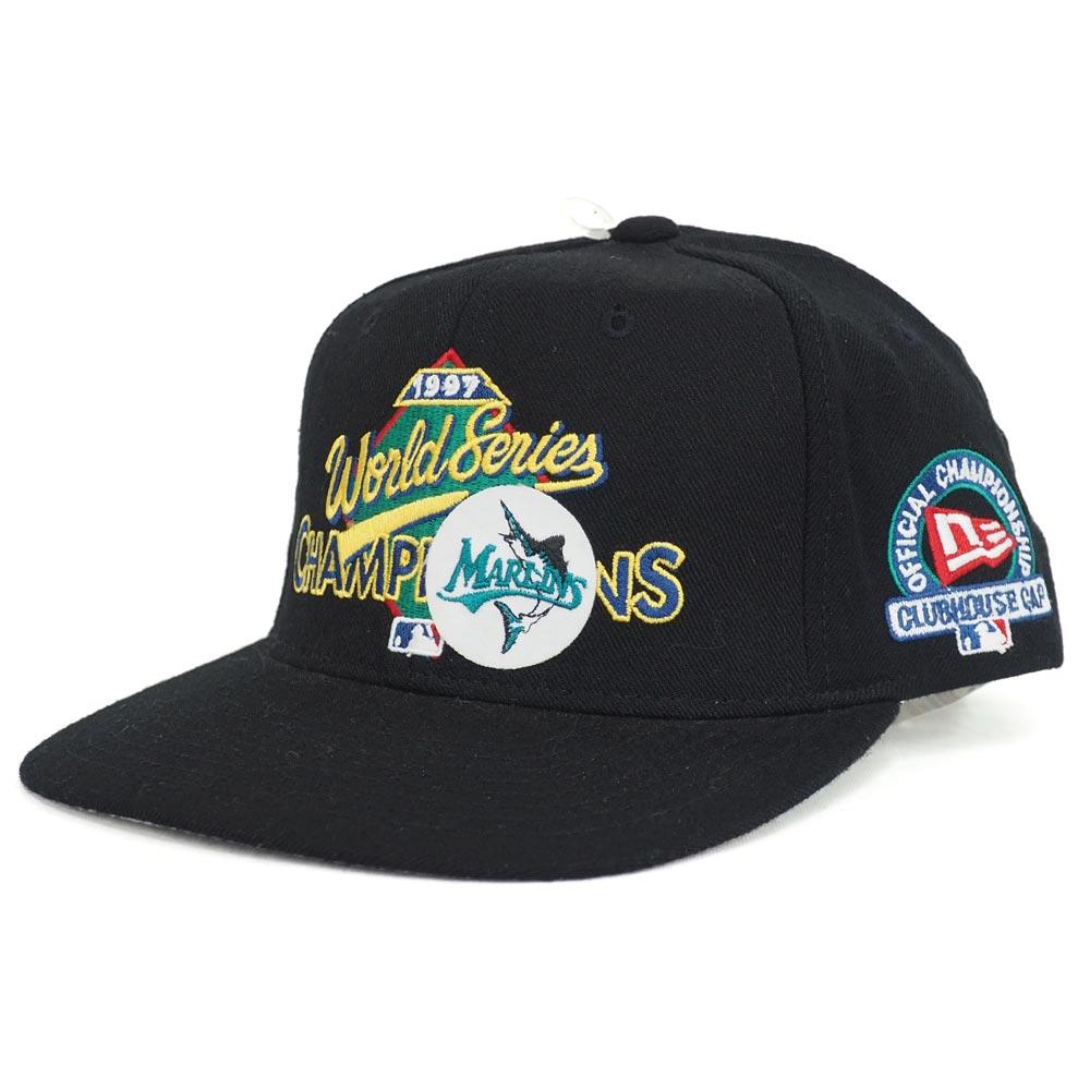 MLB フロリダ・マーリンズ 1997 ワールドシリーズ チャンピオン スナップバック キャップ/帽子 ニューエラ/New Era ブラック レアアイテム