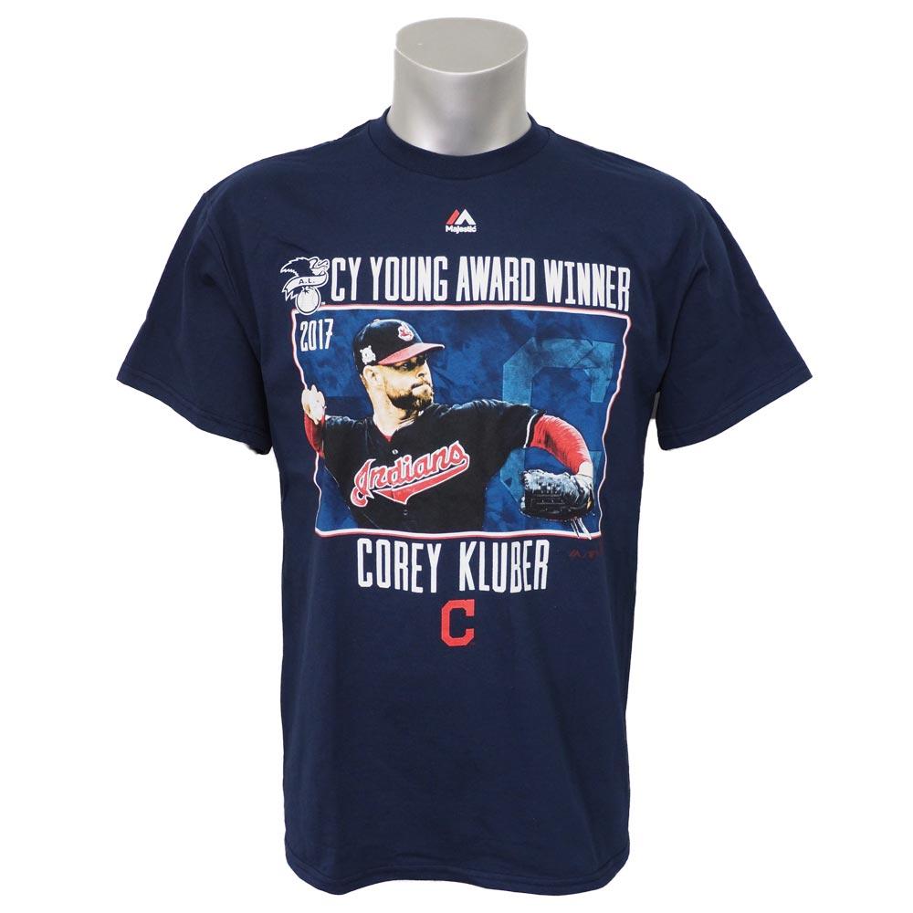 MLB インディアンス コーリー・クルーバー 2017 ア・リーグ サイヤング賞記念 Tシャツ マジェスティック/Majestic