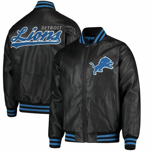 お取り寄せ NFL ライオンズ スティフ アーム プレザー バーシティ ジャケット ジースリー/G-III ブラック