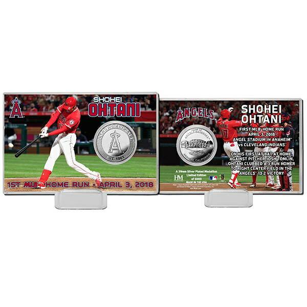MLB エンゼルス 大谷翔平 初本塁打記念/初ホームラン シルバー コイン カード The Highland Mint