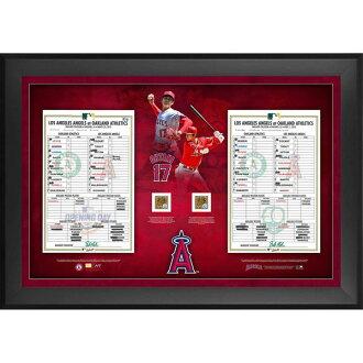 進入訂購的MLB天使大谷翔平第一次出場的比賽&首次的上陣紀念紀念架子選手陣容卡&棒球場的土