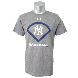 MLB ヤンキース Tシャツ 半袖 UA パフォーマンス アイコン アンダーアーマー/UNDER ARMOUR グレー【OCSL】