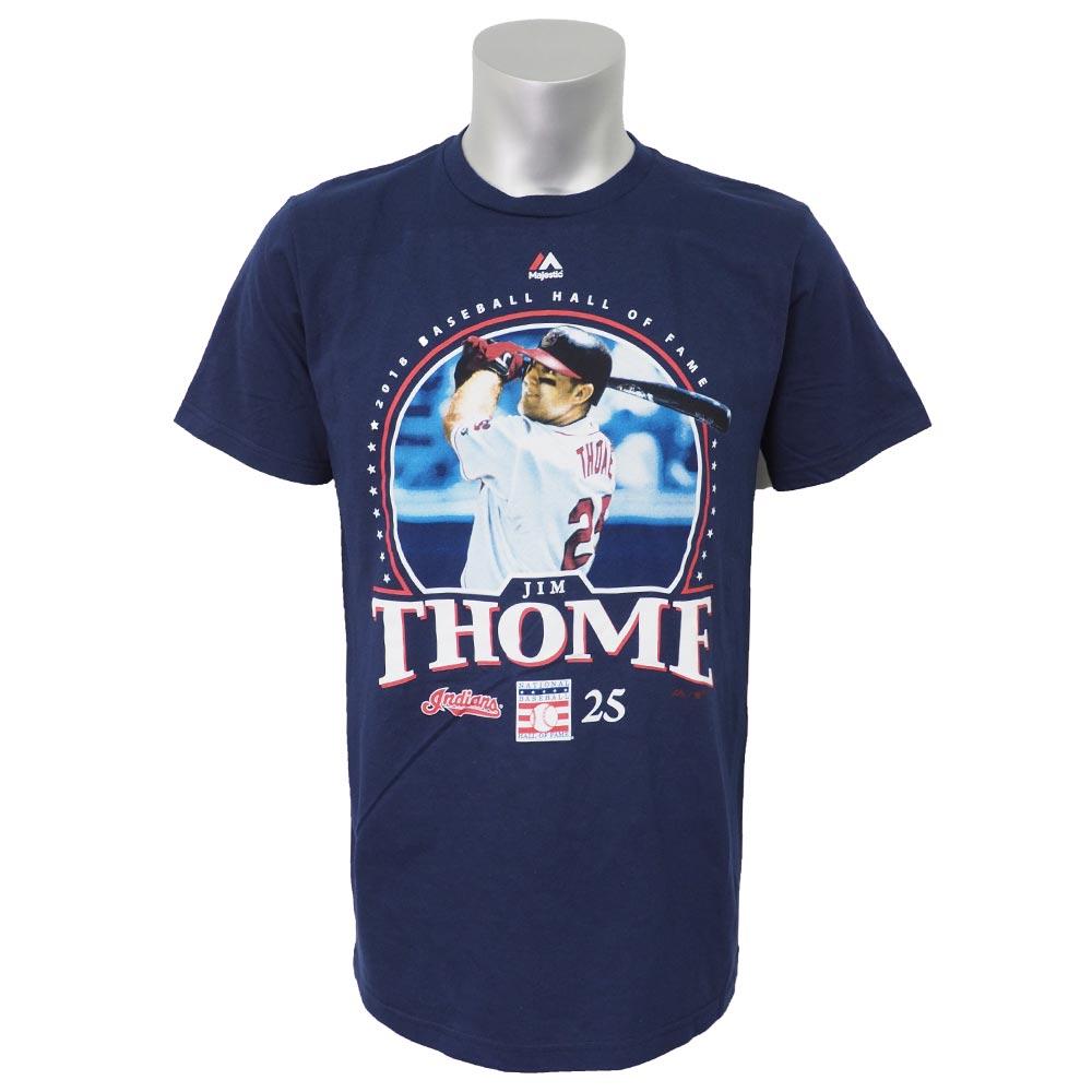 MLB インディアンス ジム・トーミ 2018 殿堂入り記念 Tシャツ グラフィック マジェスティック/Majestic ネイビー