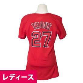 MLB エンゼルス マイク・トラウト ネーム&ナンバー Tシャツ レディース マジェスティック/Majestic レッド