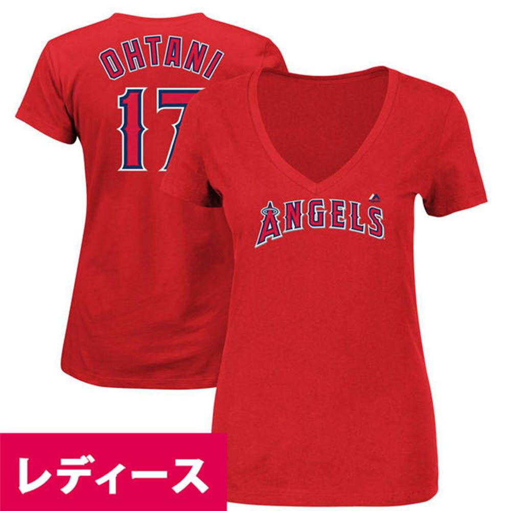 MLB エンゼルス 大谷翔平 レディース プレイヤー Tシャツ 半袖 Vネック マジェスティック/Majestic レッド