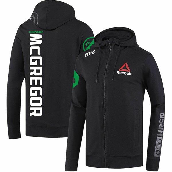 お取り寄せ UFC コナー・マクレガー パーカー/フーディー フルジップ ファイトナイト コレクション リーボック/Reebok ブラック