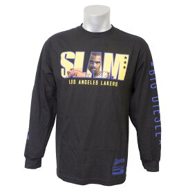 NBA レイカーズ シャキール・オニール ロングTシャツ SLAM/スラム 表紙ロゴ Mitchell & Ness ブラック