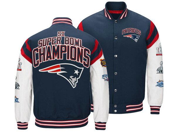 お取り寄せ NFL ペイトリオッツ ジャケット/アウター バーシティ ホームチーム メンズ ジースリー/G-III ネイビー