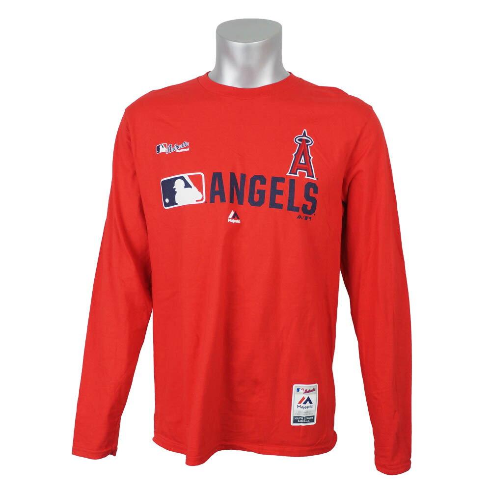 MLB エンゼルス ロングTシャツ 選手着用 2019 メンズ 長袖 マジェスティック/Majestic レッド