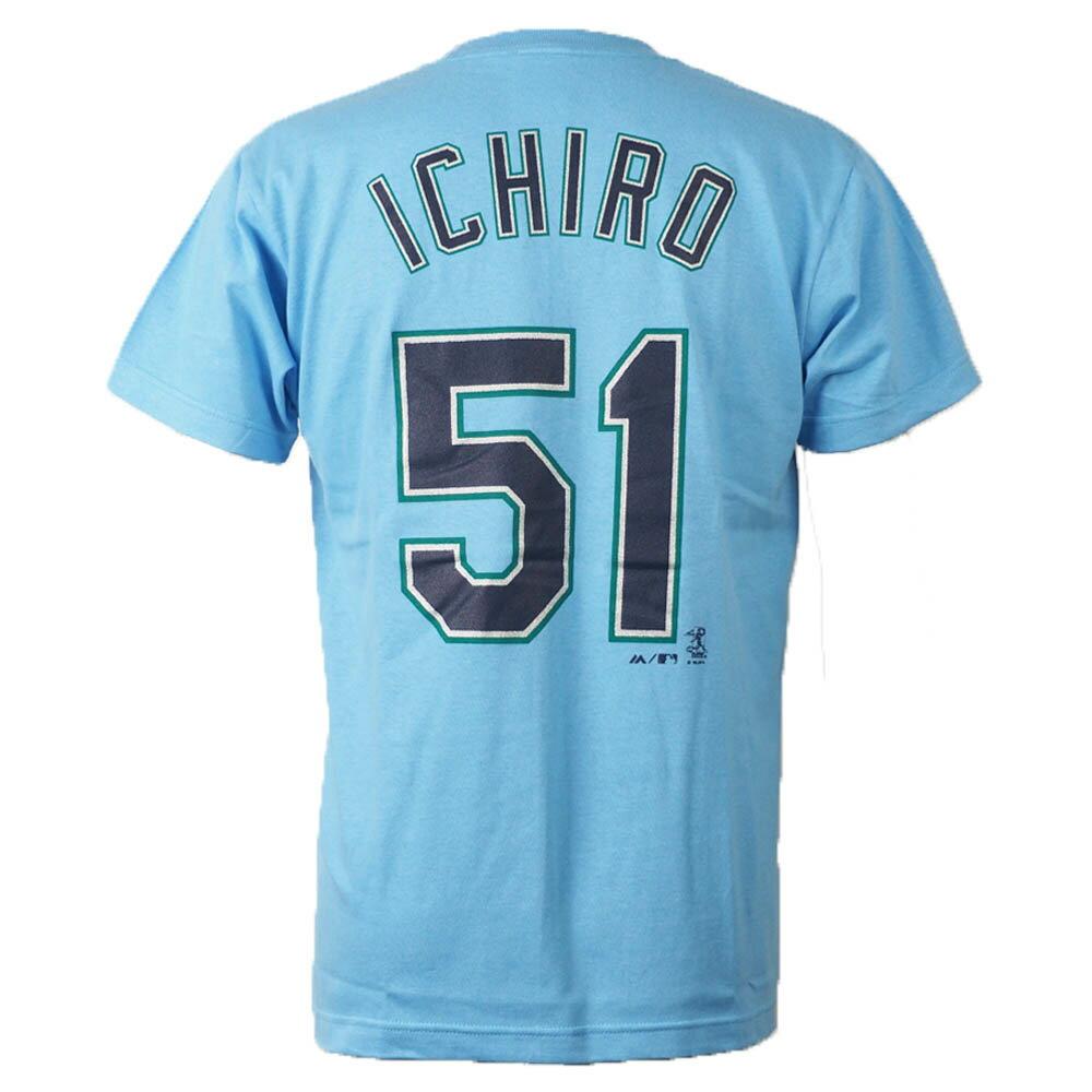 ご予約 MLB マリナーズ イチロー Tシャツ ネーム&ナンバー プレイヤー (日本サイズ) Majestic JP ライトブルー