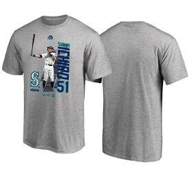 MLB マリナーズ イチロー Tシャツ ICHIRO グラフィック MLB開幕戦 マジェスティック/Majestic グレー