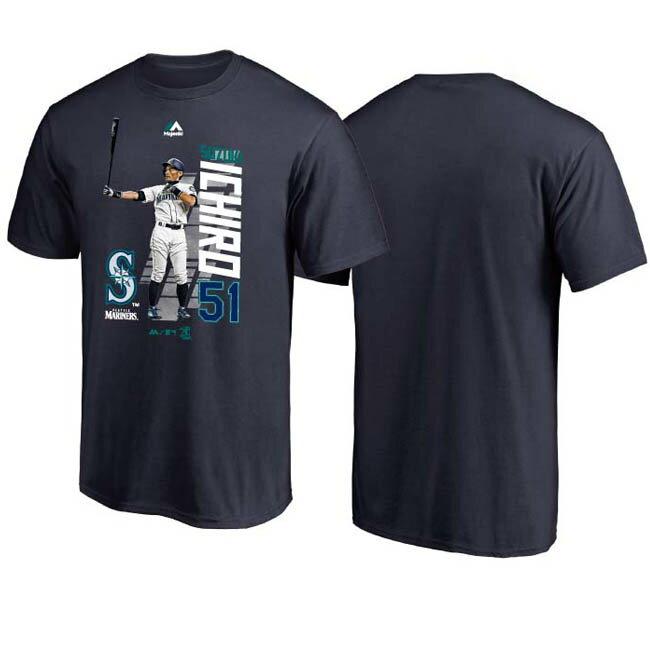 ご予約 MLB マリナーズ イチロー Tシャツ ICHIRO グラフィック MLB開幕戦 マジェスティック/Majestic ネイビー