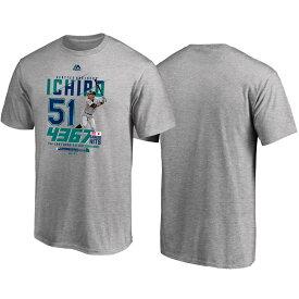 MLB マリナーズ イチロー Tシャツ 引退記念 Tee1 ジャパン マジェスティック/Majestic グレー