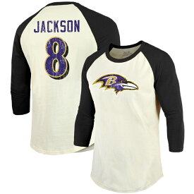 NFL ラマー・ジャクソン レイブンズ Tシャツ プレーヤー ネーム & ナンバー ラグラン 3/4 スリーブ マジェスティック/Majestic