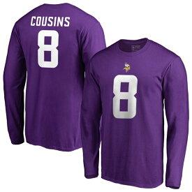 NFL カーク・カズンズ バイキングス Tシャツ オーセンティック スタック ネーム & ナンバー ロングスリーブ パープル