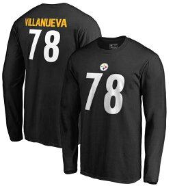 NFL アレハンドロ・ヴィジャヌエヴァ スティーラーズ Tシャツ オーセンティック スタック ネーム & ナンバー ロングスリーブ ブラック