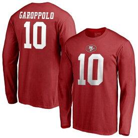 スーパーボウル進出 NFL ジミー・ガロポロ 49ers Tシャツ オーセンティック スタック ネーム & ナンバー ロングスリーブ レッド