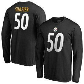 NFL ライアン・シャジャー スティーラーズ Tシャツ オーセンティック スタック ネーム & ナンバー ロングスリーブ ブラック