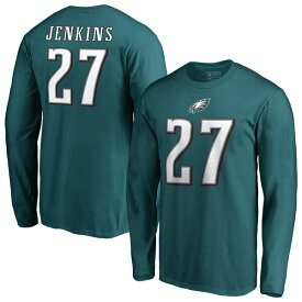 NFL マルコム・ジェンキンス イーグルス Tシャツ オーセンティック スタック ネーム & ナンバー ロングスリーブ ミッドナイトグリーン