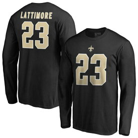 NFL マーション・ラティモア セインツ Tシャツ オーセンティック スタック ネーム & ナンバー ロングスリーブ ブラック