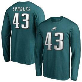 NFL ダレン・スプロールズ イーグルス Tシャツ オーセンティック スタック ネーム & ナンバー ロングスリーブ ミッドナイトグリーン