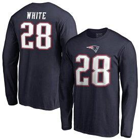 NFL ジェームス・ホワイト ペイトリオッツ Tシャツ オーセンティック スタック ネーム & ナンバー ロングスリーブ ネイビー