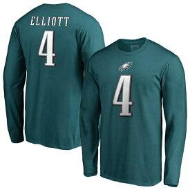 NFL ジェイク・エリオット イーグルス Tシャツ オーセンティック スタック ネーム & ナンバー ロングスリーブ ミッドナイトグリーン