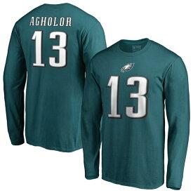 NFL ネルソン・アグホラー イーグルス Tシャツ オーセンティック スタック ネーム & ナンバー ロングスリーブ ミッドナイトグリーン