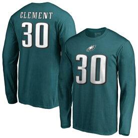 NFL コーリー・クレメント イーグルス Tシャツ オーセンティック スタック ネーム & ナンバー ロングスリーブ ミッドナイトグリーン