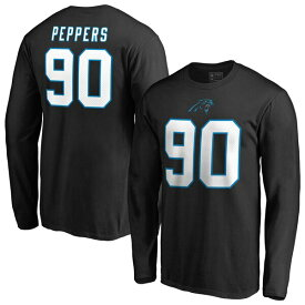 NFL ジュリアス・ペパーズ パンサーズ Tシャツ オーセンティック スタック ネーム & ナンバー ロングスリーブ ブラック