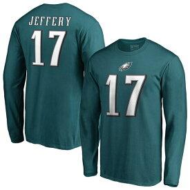 NFL アルション・ジェフリー イーグルス Tシャツ オーセンティック スタック ネーム & ナンバー ロングスリーブ ミッドナイトグリーン