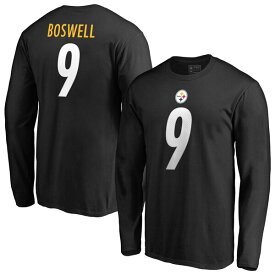 NFL クリス・ボズウェル スティーラーズ Tシャツ オーセンティック スタック ネーム & ナンバー ロングスリーブ ブラック