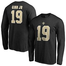 NFL テッド・ジン・ジュニア セインツ Tシャツ オーセンティック スタック ネーム & ナンバー ロングスリーブ ブラック