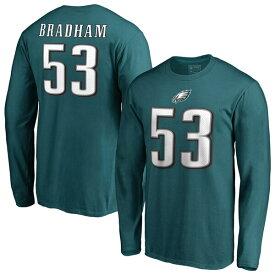 NFL ナイジェル・ブラッドハム イーグルス Tシャツ オーセンティック スタック ネーム & ナンバー ロングスリーブ ミッドナイトグリーン
