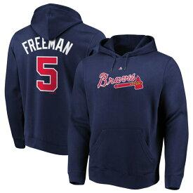 MLB フレディ・フリーマン ブレーブス パーカー/フーディー ネーム & ナンバー プルオーバー マジェスティック/Majestic ネイビー