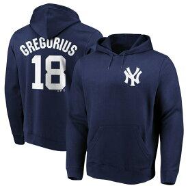 MLB ディディ・グレゴリウス ヤンキース パーカー/フーディー ネーム & ナンバー プルオーバー マジェスティック/Majestic ネイビー