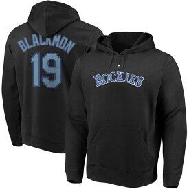 MLB チャーリー・ブラックモン ロッキーズ パーカー/フーディー ネーム & ナンバー プルオーバー マジェスティック/Majestic ブラック