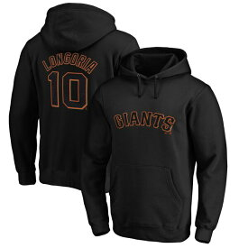 MLB エバン・ロンゴリア ジャイアンツ パーカー/フーディー ネーム & ナンバー プルオーバー マジェスティック/Majestic ブラック