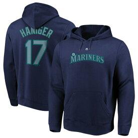 MLB ミッチ・ハニガー マリナーズ パーカー/フーディー ネーム & ナンバー プルオーバー マジェスティック/Majestic ネイビー