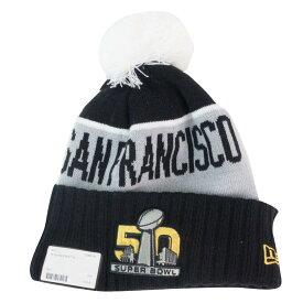 【リニューアル記念メガセール】NFL ニットキャップ/ニット帽 Super Bowl 50 Pom Knit Hat ニューエラ/New Era ブラック