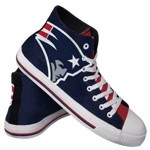 NFL ペイトリオッツ シューズ/スニーカー High Top Big Logo Canvas Shoes キャンバス Forever Collectibles ネイビー