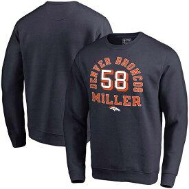 NFL ボン・ミラー ブロンコス スウェットシャツ/トレーナー ネーム & ナンバー クルー プルオーバー ネイビー